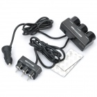 100W 1-to-3 Car Cigarette Lighter Socket Splitter w/ Individual Switch - Black (DC 12~24V)