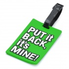 "Secure Travel Suitcase ID Luggage Tag - ""PUT IT BACK, IT'S MINE!"" (Green)"