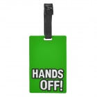 "Fashionable Secure Travel Suitcase ID Luggage Tag - ""HANDS OFF"" (Green)"