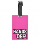 "Fashionable Secure Travel Suitcase ID Luggage Tag - ""HANDS OFF"" (Deep Pink)"