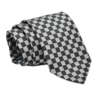 Fashion Men's Checked Pattern Tie - Black + Silver