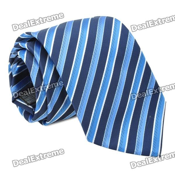 Fashion Men's Diagonal Striped Pattern Tie - Blue + Black