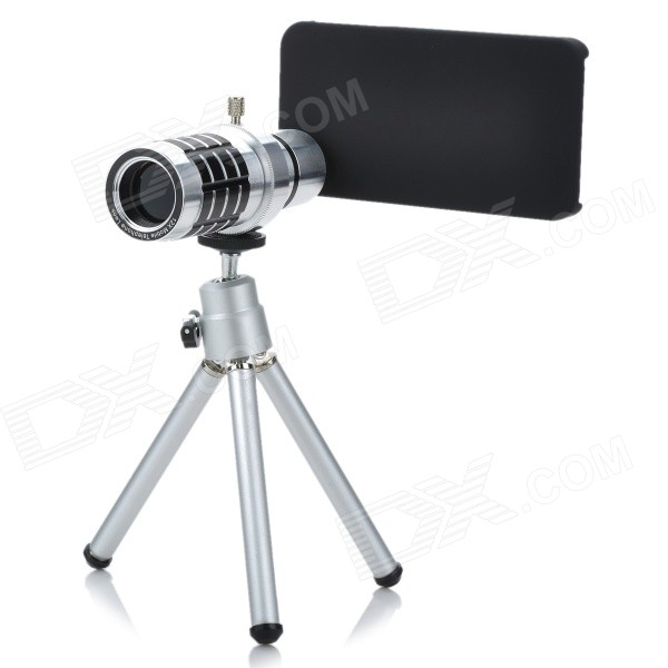 Genuine JEC 12X Telephoto Zoom Lens Set for Iphone 4S - Silver detachable 14x camera zoom optical telescope telephoto lens set for iphone 4 4s silver black