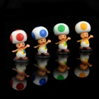 Super Mario Abbildung PVC Display Toy w / Base - Toad (4-Stück-Packung)