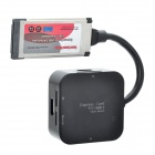 Express Card to USB3.0 4 Port Hub + USB 2.0 Card Reader - Black