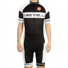 2011 Castelli Team Short Sleeve Cycling Bicycle Bike Riding Suit Jersey + Bib Shorts Set (Size-L)