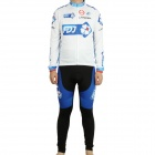 2011 FDJ Team Long Sleeve Cycling Bicycle Bike Riding Suit Jersey + Bib Pants Set (Size-M)