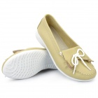 INCOME Stylish Genuine Cow Leather Casual Shoes - Chartreuse (Euro Size-35)