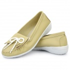 INCOME Stylish Genuine Cow Leather Casual Shoes - Chartreuse (Euro Size-37)