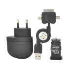 3-in-1 EU Plug AC Charger + Car Charger + USB Cable for iPhone 4 / Samsung i9100 + More - Black