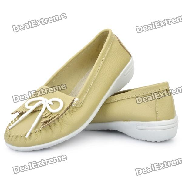 INCOME Stylish Genuine Cow Leather Casual Shoes - Chartreuse (Euro Size-39)