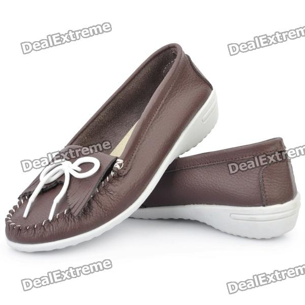 INCOME Stylish Genuine Cow Leather Casual Shoes - Coffee (Euro Size-37) - DXShoes<br>Model: Income 889-02 - Color: Coffee - Material: Cow leather upper + ox-tendon sole style - Stylish design with cute bowknot decoration - Comfortable for daily wear - Euro size: 37<br>