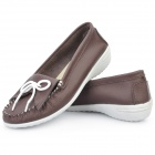 INCOME Stylish Genuine Cow Leather Casual Shoes - Coffee (Euro Size-37)