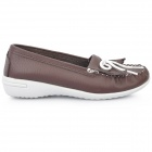 INCOME Stylish Genuine Cow Leather Casual Shoes - Coffee (Euro Size-39)