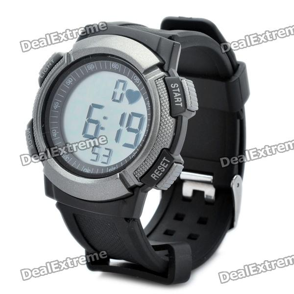 Sports Wireless Heart Rate Monitor Digital Watch - Black + Silver sports wireless heart rate monitor digital watch black silver