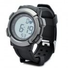 Sports Wireless Heart Rate Monitor Digital Watch - Black + Silver