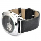 Men's Stylish Leather Band Quartz Wrist Watch - Black + Silver (1 x L626)