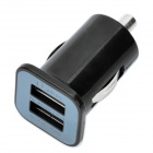 Designer's Dual USB Car Cigarette Powered Charger - Black (DC 12~24V)