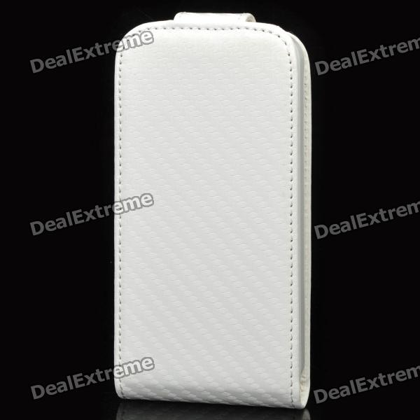 Top Flip Artificial Leather Case w/ Plastic Holder / Card Slot for Iphone 4 / 4S - White