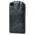 Top Flip Artificial Leather Case w/ Plastic Holder / Card Slot for Iphone 4 / 4S - Black