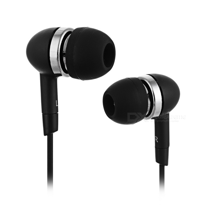 Stereo In-Ear Earphone - Black (3.5mm-Plug / 118cm-Cable)