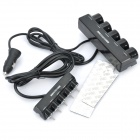 100W 1-to-5 Car Cigarette Lighter Socket Splitter w/ Individual Switch - Black (DC 12~24V)
