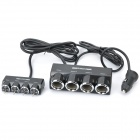 100W 1-to-4 Car Cigarette Lighter Socket Splitter w/ Individual Switch - Black (DC 12~24V)