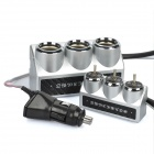 100W 1-to-3 Car Cigarette Lighter Socket Splitter w/ Individual Switch - Silver (DC 12~24V)