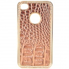 Protective PC Electroplating Cover Case for Iphone 4 / 4S - Brown + Golden