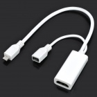 MHL Micro USB Male to HDMI Female + Micro USB Female Adapter Cable - White (17cm-Length)