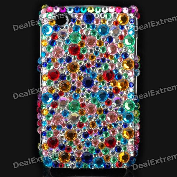 Fashion Acrylic Diamond Protective Back Case for Blackberry 8520 / 8530 - Colorful fashion butterfly pattern acrylic diamond protective case for blackberry 8520 8530 silver blue