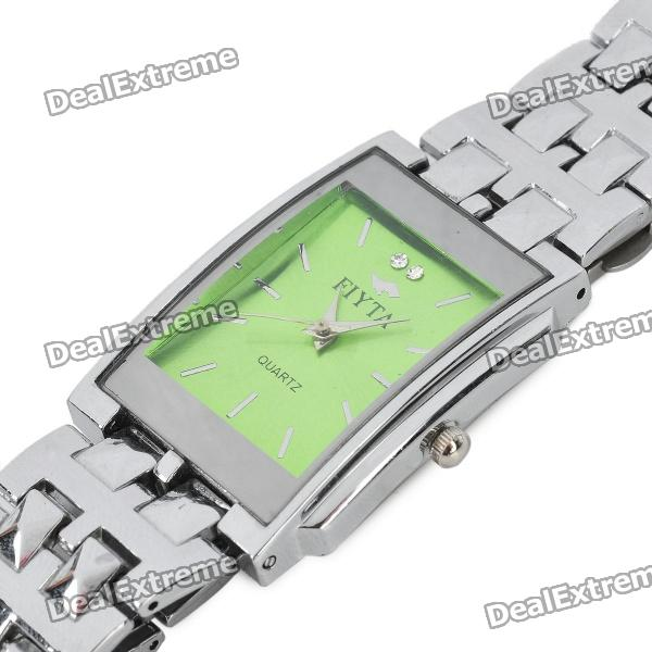 Lady's Rectangle Style Stainless Quartz Wrist Watch - Green + Silver (1 x LR626)