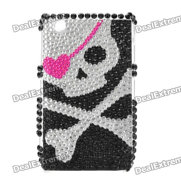 Skull Pattern Crystal Protective Back Case for Blackberry 8520 / 8530 - Black + Silver fashion butterfly pattern acrylic diamond protective case for blackberry 8520 8530 silver blue
