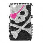 Skull Pattern Crystal Protective Back Case for Blackberry 8520 / 8530 - Black + Silver