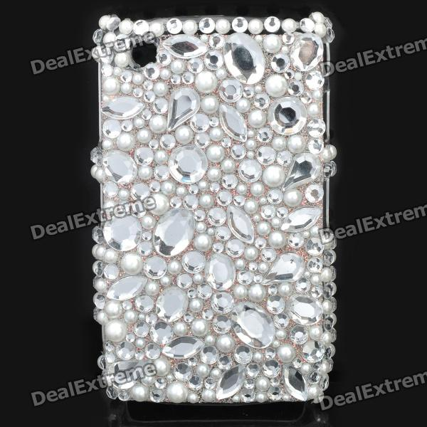Fashion Acrylic Diamond Protective Back Case for Blackberry 8520 / 8530 - White + Transparent fashion butterfly pattern acrylic diamond protective case for blackberry 8520 8530 silver blue