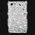 Fashion Acrylic Diamond Protective Back Case for Blackberry 8520 / 8530 - White + Transparent