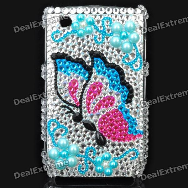 Fashion Butterfly Pattern Acrylic Diamond Protective Case for Blackberry 8520 / 8530 - Silver +Blue fashion butterfly pattern acrylic diamond protective case for blackberry 8520 8530 silver blue