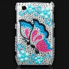 Fashion Butterfly Pattern Acrylic Diamond Protective Case for Blackberry 8520 / 8530 - Silver +Blue