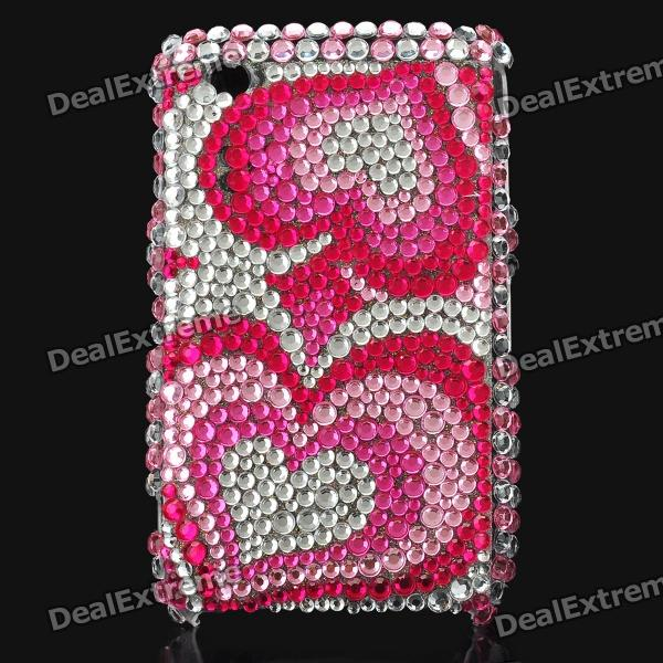 Love Heart Pattern Crystal Protective Back Case for Blackberry 8520 / 8530 - Red + Pink