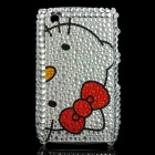 Hello Kitty Acrylic Diamond Protective Back Case for Blackberry 8520 / 8530 - Black + Silver + Red