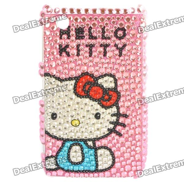 Fashion Hello Kitty Acrylic Diamond Protective Back Case for BlackBerry 8520/8530 - Pink
