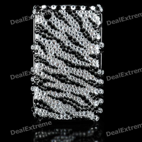 Protective Back Cover Case for Blackberry 8520/8530 - Black + Silver decorative colors crystal protective back case for blackberry 8520 8530