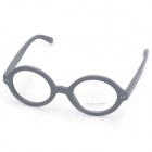 Fashion Wooden Style Frame Round Lens Spectacles Eyeglass - Grey