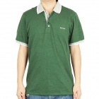 Fashion Short Sleeves Polo Shirt T-Shirt - Dark Green + Grey (Size-XXL)