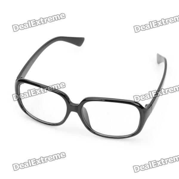 Fashion PVC Frame Spectacles Eyeglass - Black