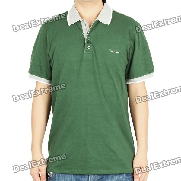 Fashion Short Sleeves Polo Shirt T-Shirt - Dark Green + Grey (Size ...