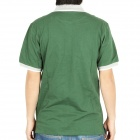 Fashion Short Sleeves Polo Shirt T-Shirt - Dark Green + Grey (Size-L)