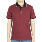 Fashion Short Sleeves Polo Shirt T-Shirt - Dark Red (Size-L)