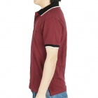 Fashion Short Sleeves Polo Shirt T-Shirt - Dark Red (Size-XXL)