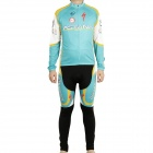 2011 Astana Team Long Sleeve Cycling Bicycle Bike Riding Suit Jersey + Bib Pants Set (Size-XXL)